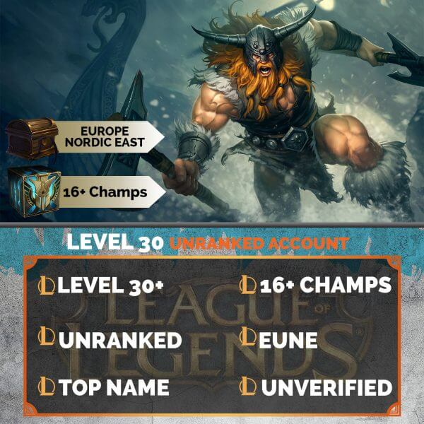 Europe Nordic East LoL Account 16+ Champions EUNE