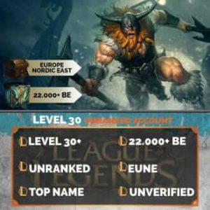 Europe Nordic East LoL Account 22.000+ Blue Esssences EUNE