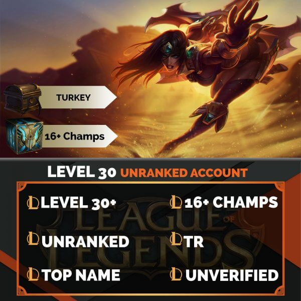 Turkey LoL Account 16+ Champions TR