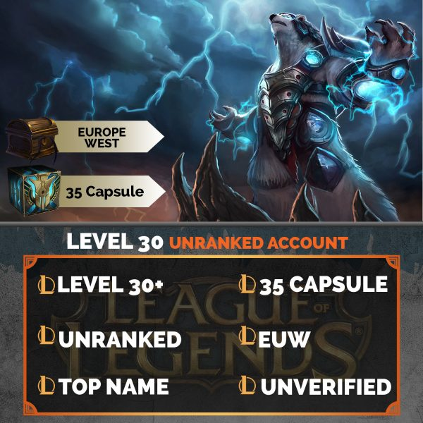 League of Legends Account 35 Capsules on server Europe West EUW