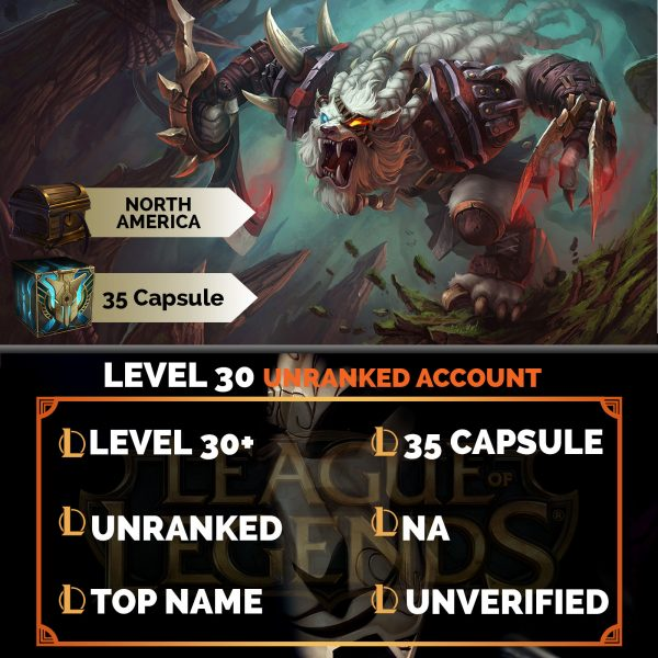 League of Legends Account 35 Capsules on server North America NA